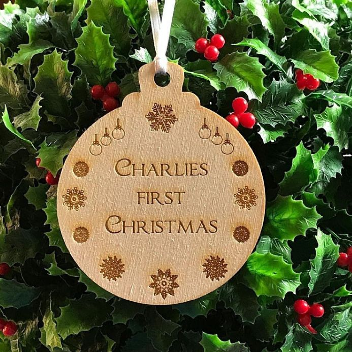 Personalised 1st Christmas Bauble decoration